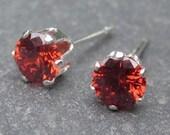 Dainty Garnet Red Cubic Zirconia Sterling Silver Post Stud Birthstone Earrings 4mm