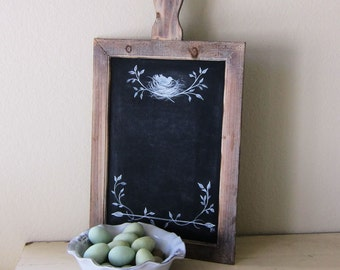 Farmhouse Chalkboard Rustic French Country Hand Painted Bird and Nest
