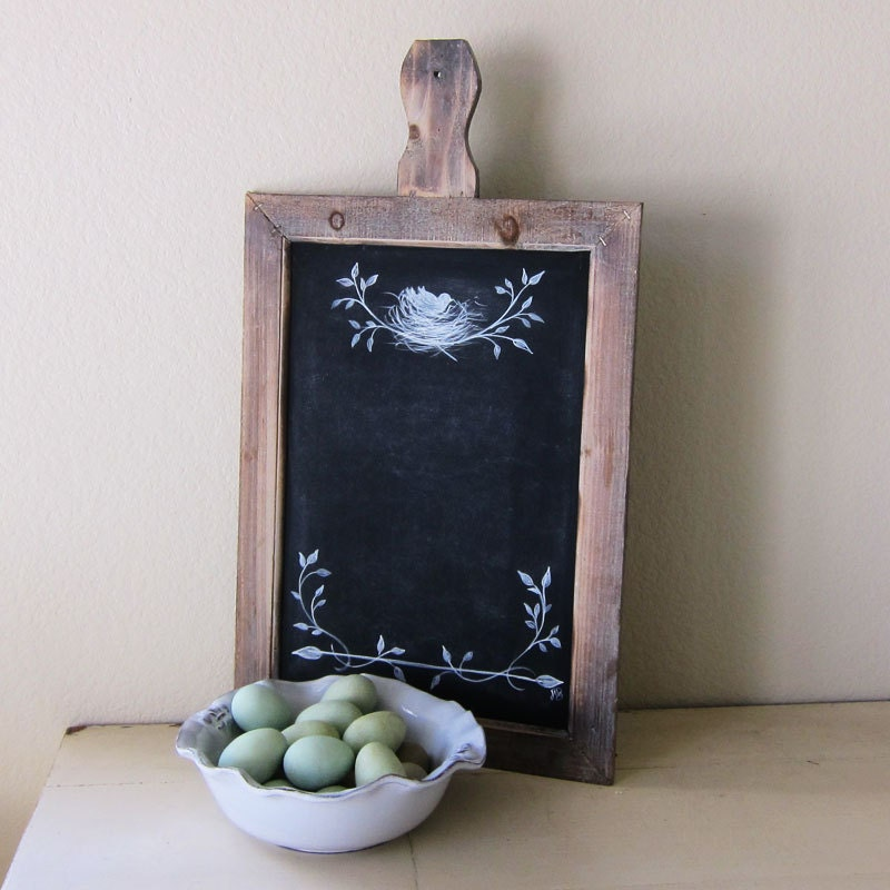 Farmhouse Chalkboard Rustic French Country Hand Painted Bird