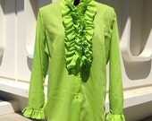 1960's Bright Green Ruffled Blouse, Medium to Large