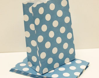 Paper Bags, Blue Dot Paper Favor Bags, Party Treat Bag, Blue Paper Bag, Wedding Favor Bag, Birthday Party Favor Bags, Candy Bag, Lunch Bag