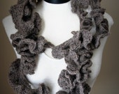 Crochet Twirl Infinity Scarf in a mix of  brown and grey  color