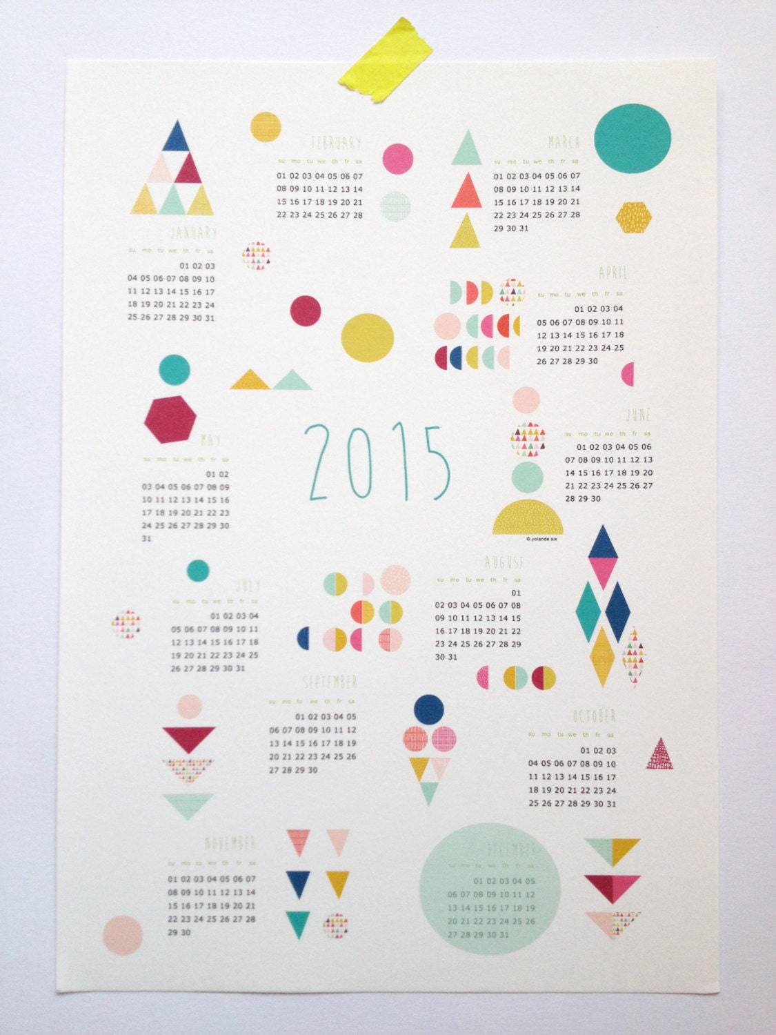 Calendar Posters 2015 : Printable calendar poster size a pdf geometric forms