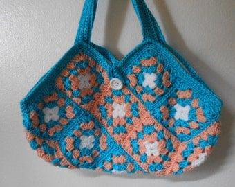 Crochet Granny Square Hobo Purse Bag,  Aqua Blue and Peach