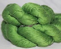 Reclaimed Grass Green Mercerized Cotton Yarn, Fingering Weight Yarn - 437 Yards