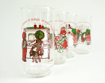 Vintage Holly Hobbie and Robby Coca Cola 1978 Complete Set Limited Edition Christmas Glasses VGC