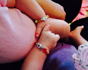 12 Month to 2 Year Size Twin Girls ID Bracelets Set of Two