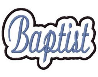 Baptist Script with Shadow Embroidery Machine Applique Design 4105