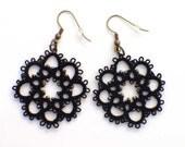 Black Lace Earrings - Victorian Steampunk - Black Beaded Tatted Lace Jewelry - Black Earrings - Tatting Earrings - Ready to Ship Earrings