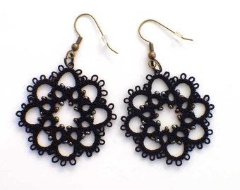 Black Lace Earrings, Steampunk Black Beaded Earrings, Tatted Lace Jewelry, Black Earrings, Tatting Earrings, Ready to Ship, Lace Earrings