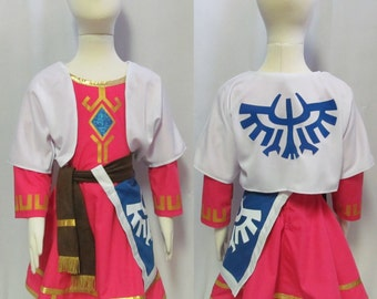 Girl's Legend of Zelda Skyward Sword Princess Zelda  Cosplay Costume Children's Size 3 4 5 6 7 8 9 10 11 12