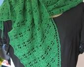 Emerald Green Wool Lace Shawl