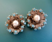 Ancient and Fantastic 1950 italian Earrings  - great design with silver, pearls and turquoise - original vintage Italian -Art.519/3--