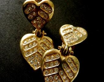 Double heart pendant earrings - dangling  earrings 1960 Italian -two hearts with rhinestone -art.274 -