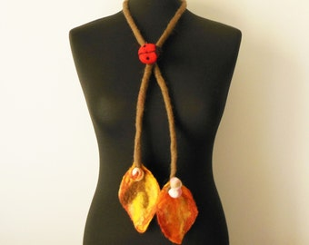 felt statement necklace, felt autumn leaves, eco friendly, lariat, ladybug brooch