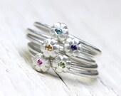 Boho Floral Gemstone Stacking Rings Silver Pink Sapphire Purple Amethyst Yellow Sapphire Blue Zircon Green Peridot - Sunset Bouquet