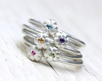 Boho Floral Gemstone Stacking Rings Silver Pink Sapphire Purple Amethyst Yellow Sapphire Blue Zircon Green Peridot Gift Her - Sunset Bouquet