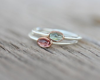 Tiny Tourmaline 14K Rose Gold Silver Ring Pink or Blue-Green Bi-Color Gemstone Brazil Watermelon Stackable Band Cute Colorful Boho - Tsamma