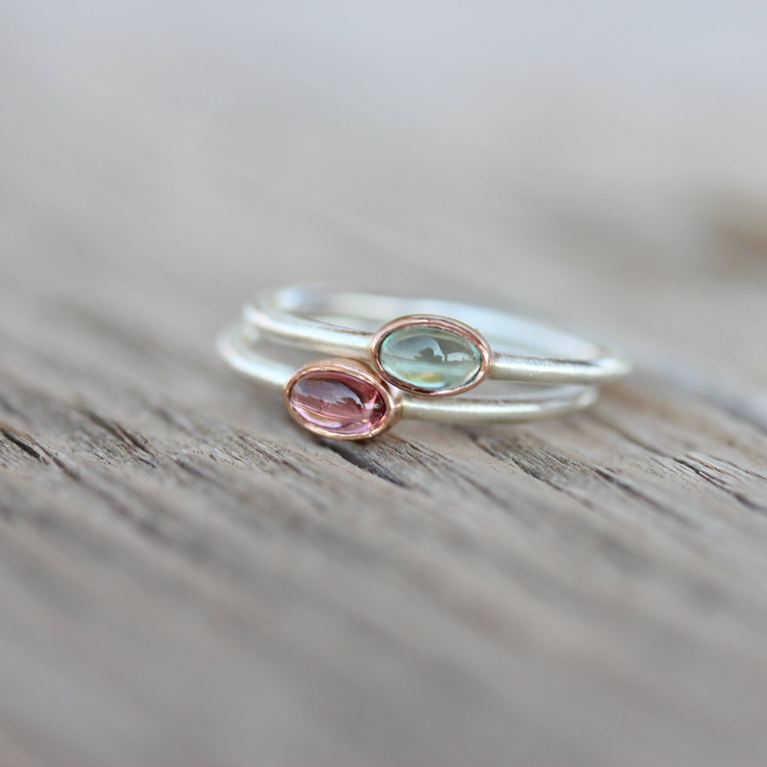 Tiny Tourmaline 14k Rose Gold Silver Ring Pink Or Blue Green