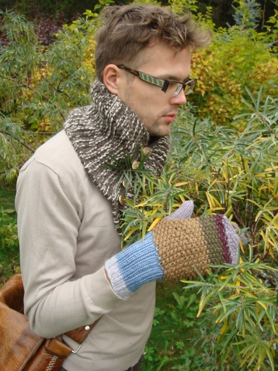 Men's gloves, purple, brown gloves, gift for him, fall, winter accessory
