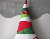 Christmas Tree Pillow, Striped Tree Pillow, Christmas Pillow