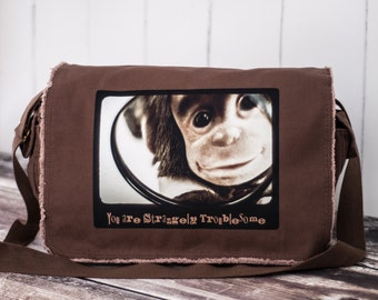 Monkey - Messenger Bag - CUSTOMIZE - School Bag - HBO's Family Tree  - Canvas Bag - Java Brown
