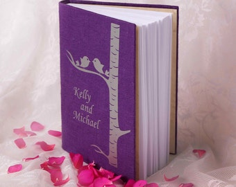 Exclusive Wedding guest Linen Wedding guest book Personalized Light Silver birds on Silver birch tree