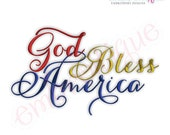 God Bless America Script - Instant Email Delivery Download Machine embroidery design