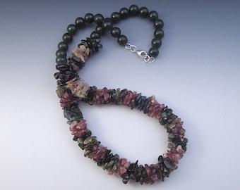 Tourmaline Gem Stone Bead Crochet Necklace