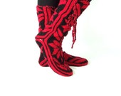Christmas , Red and Black ,Warm , Long ,Cozy  ,Wool Socks ,Mukluk ,Long Slippers - aykelila