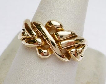 14 kt Puzzle Ring with 4 Bands (Soldered Together) Yellow Gold