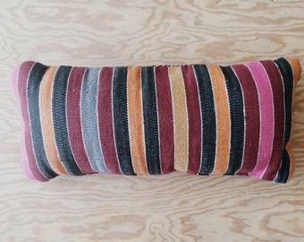 Vintage Stripes and Sequins Bolster Kilim Lumbar Pillow