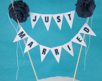 """Navy wedding Cake banner, White  Navy Wedding cake topper """"Just Married"""" F065 cake banner"""