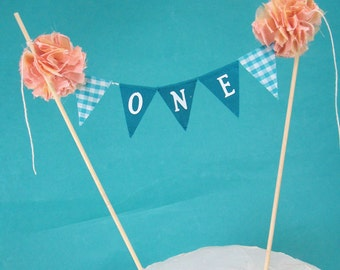 Birthday Cake banner, Turquoise peach Blue, ONE, G271, smash cake bunting topper
