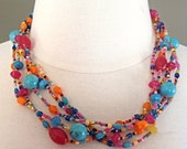 "RESERVED for Deb Sowders  - 24"" Tropical Multi Strand Necklace"
