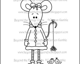 Christmas Mistletoe Mouse Digital Stamp