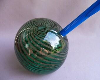 Hand Blown Art Glass Pen Holder/Paperweight