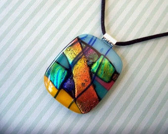 Dichroic Fused Glass Jewelry - Blue, Green, Gold, and Red Dichroic Pendant - Fused Glass Necklace - 153-13
