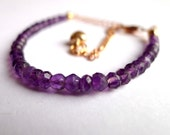 rose gold amethyst bracelet, dainty, modern, gemstone bracelet, birthstone, rose gold vermeil heart charm, stacking bracelet