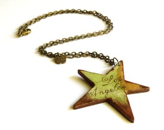 Decoupage wooden star necklace with map of Los Angeles