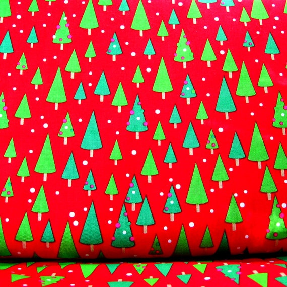 Riley Blake Christmas Candy Red Trees fabric by the Yard