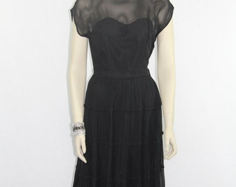 1950's Vintage Party  Dress - Black Chiffon Illusion Bust Sexy LBD Cocktail Party Dress