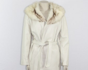1970s Vintage Coat - White Leather with Rabbit Fur Collar Long Jacket