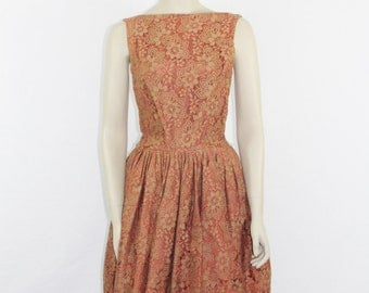 SALE.......1950s Vintage Dress - GIGI YOUNG Designer Lace Sleeveless with Peplum Cocktail Party Dress - 38 / 28 / full