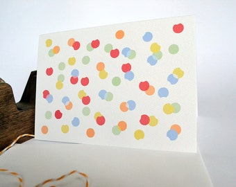 Confetti Card - Red, Orange, Green, Lilac and Yellow Card - Fun Celebration Card