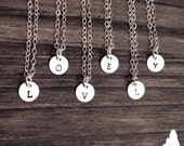 """Tiny Customized 1/4"""" Sterling Silver Necklace - Hand Stamped Initial - Personalized Charm - Sterling Silver - Minimalist - Simple - Gift For"""