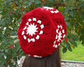 Womens Hats, Granny Square Hat, Slouch Hats, Slouchy Beanie, Cranberry Red and Ivory, Gift Ideas for Women, Winter Hat, Red and White