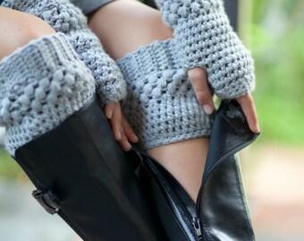 Womens Boot Socks Grey Crochet Boot Cuff Gray Boot Topper Boot Sock Boot Tops Women's Boot Cuff Faux Leg Warmer Hand Crocheted Items