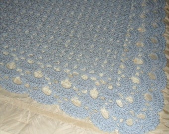 Crocheted Afghan - Throw - Coverlet - Blanket - Bedspread - Large    ''SHELLS GALORE''   in Ice Blue