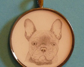 French Bulldog Original Pencil Drawing Pendant with Organza Pouch -Choice of Necklaces -Free Shipping- Desert Impressions